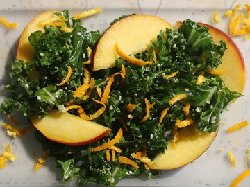 Kale Salad with Quinoa, Nectarines & Raw Almonds