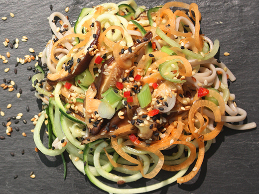 Courgette and Carrot Noodles with Shitake Mushrooms